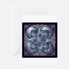 Silver & Purple Celtic Tapestry Greeting Card