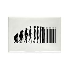 Cave Man Bar Code Evolution Rectangle Magnet