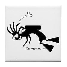 Kokopelli SCUBA Diver Tile Coaster
