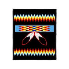 NATIVE AMERICAN BEADED STRIP Throw Blanket