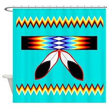 NATIVE AMERICAN BEADED STRIP Shower Curtain
