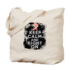 Endometrial Cancer Keep Calm Fight On Tote Bag