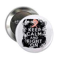 """Endometrial Cancer Keep Calm Fight On 2.25"""" Button"""