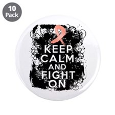 """Endometrial Cancer Keep Calm Fight On 3.5"""" Button"""