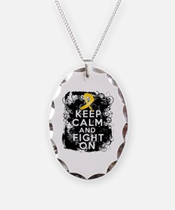 Childhood Cancer Keep Calm Fight On Necklace