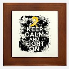 Childhood Cancer Keep Calm Fight On Framed Tile