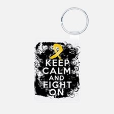 Childhood Cancer Keep Calm Fight On Keychains