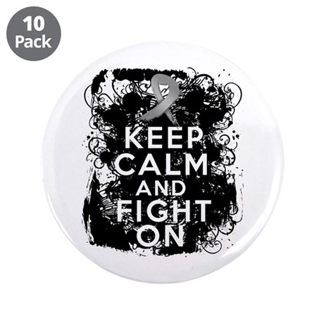 "Brain Cancer Keep Calm Fight On 3.5"" Button (10 pa"