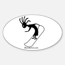 Kokopelli Snowboarder Oval Stickers