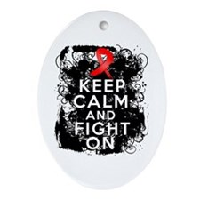 AIDS HIV Keep Calm Fight On Ornament (Oval)