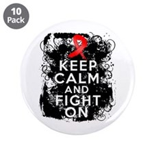 "AIDS HIV Keep Calm Fight On 3.5"" Button (10 pack)"