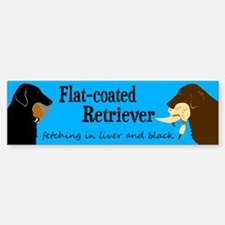 Fetching Flat-coated Retriever Bumper Bumper Bumper Sticker