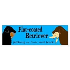 Fetching Flat-coated Retriever Bumper Bumper Sticker