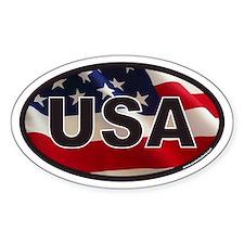 USA Oval Sticker with American Flag Background Sti
