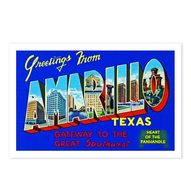 Amarillo Texas Greetings Postcards Package Of 8 By W2arts