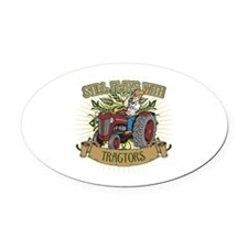 Still Plays with Red Tractors Oval Car Magnet