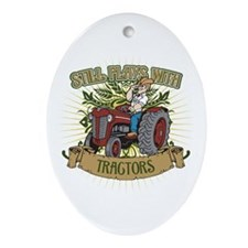 Still Plays with Red Tractors Ornament (Oval)