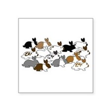 "Many Bunnies Square Sticker 3"" x 3"""
