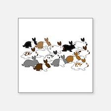 "Many Bunnies Square Sticker 3"" x 3"""