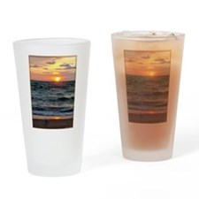 Sunset, seagull, lake, photo Drinking Glass