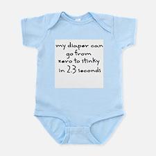 """""""My diaper... zero to stinky"""" Infant Creeper"""