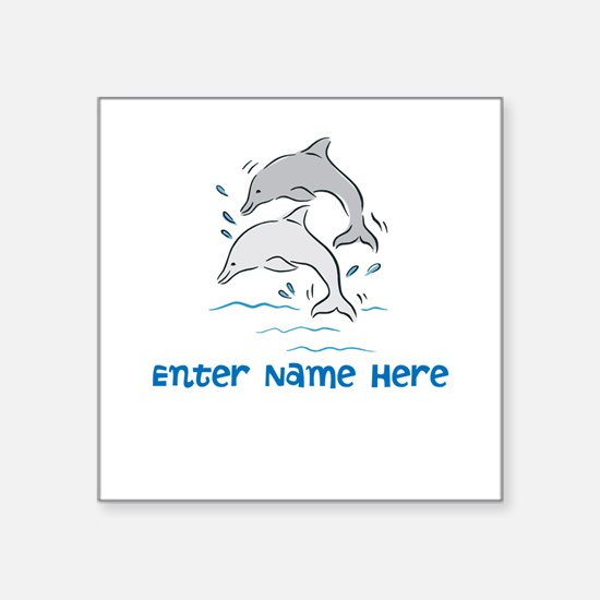 """Personalized Dolphins Square Sticker 3"""" x 3"""""""