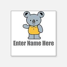 "Personalized Koala Bear Square Sticker 3"" x 3"""