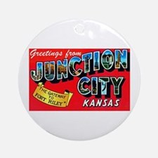 Junction City Kansas Greetings Ornament (Round)