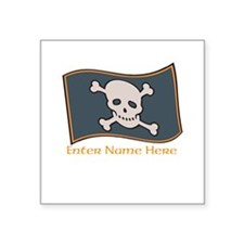 "Personalized Pirate Flag Square Sticker 3"" x 3"""