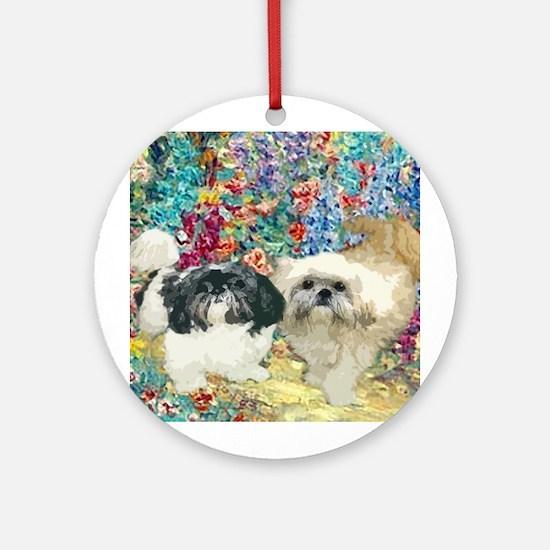 Shih Tzu Fine Art Bijou & Asti Ornament (Round)