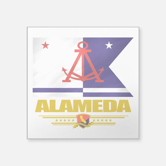 "Alameda (Flag 10).png Square Sticker 3"" x 3"""