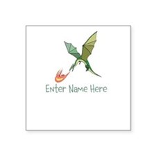 "Personalized Dragon Square Sticker 3"" x 3"""