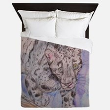 Snow Leopard! Wildlife art! Queen Duvet