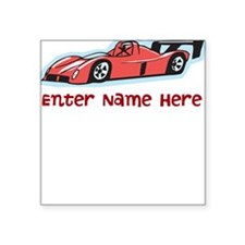 Personalized Racecar Square Sticker 3
