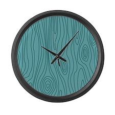 Aqua Blue Wood Grain Large Wall Clock