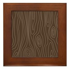 Chocolate Brown Wood Grain Framed Tile