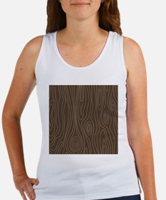 Chocolate Brown Wood Grain Women's Tank Top