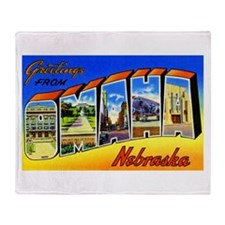 Omaha Nebraska Greetings Throw Blanket