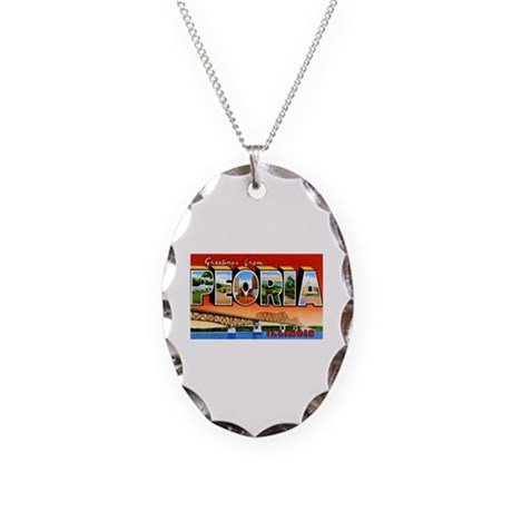 Peoria Illinois Greetings Necklace Oval Charm
