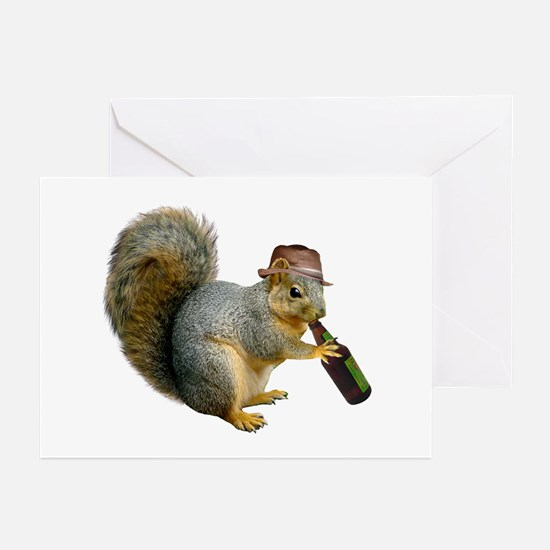 Squirrel Beer Hat Greeting Cards (Pk of 20)