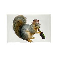Squirrel Beer Hat Rectangle Magnet