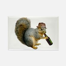Squirrel Beer Hat Rectangle Magnet