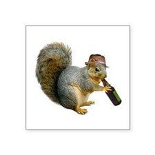 "Squirrel Beer Hat Square Sticker 3"" x 3"""