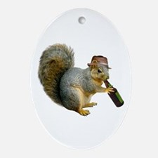 Squirrel Beer Hat Ornament (Oval)