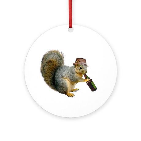 Squirrel Beer Hat Ornament (Round)