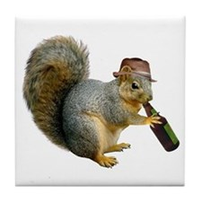 Squirrel Beer Hat Tile Coaster