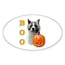 Halloween Akita Boo Oval Decal