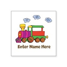 Personalized Train Engine Square Sticker 3