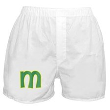 Initial M with Blue/Green Stripes Boxer Shorts