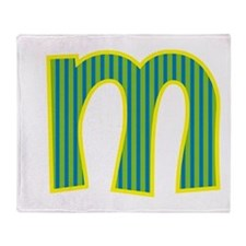 Initial M with Blue/Green Stripes Throw Blanket